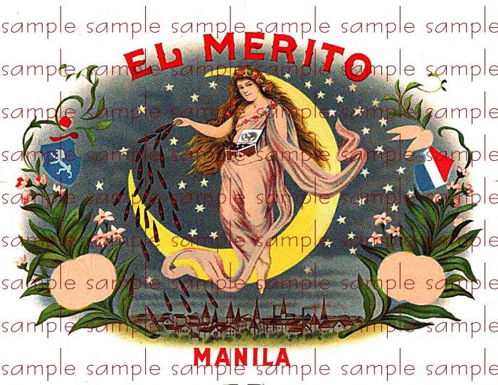 El Merito Digital Vintage Cigar Art Ephemera Scrapbooking Altered Art