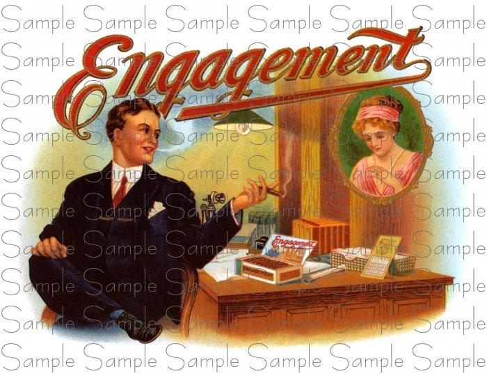Engagement Digital Vintage Cigar Art Ephemera Scrapbooking Altered Art