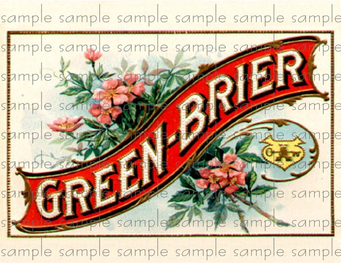 Green Brier Vintage Digital Cigar Box Art Ephemera Scrapbooking Altered Art