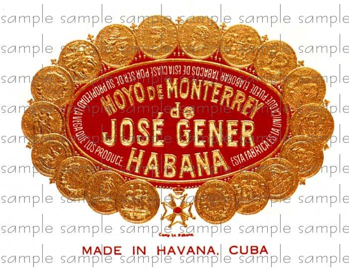 Hoyo de Monterrey Vintage Digital Cigar Box Art Ephemera Scrapbooking Altered Art