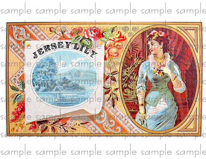 Jersey Lily Vintage Digital Cigar Box Art Ephemera Scrapbooking Altered Art