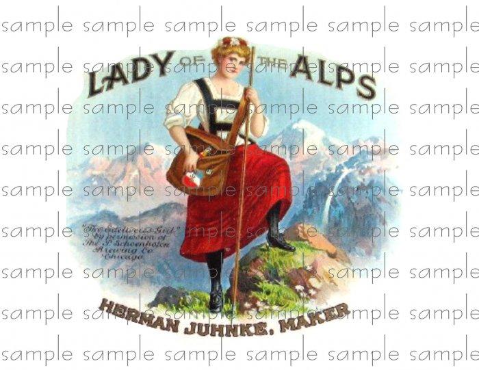 Lady Alps Vintage Digital Cigar Box Art Ephemera Scrapbooking Altered Art Decoupage