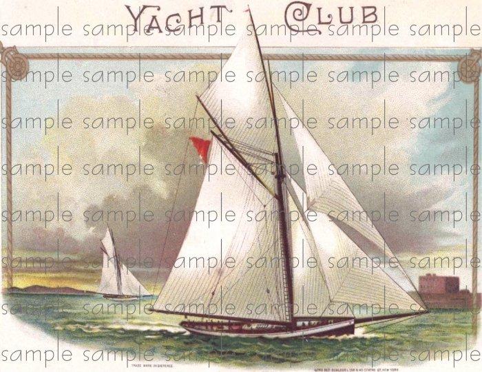 Yacht Club Vintage Digital Cigar Box Art Ephemera Scrapbooking Altered Art Decoupage