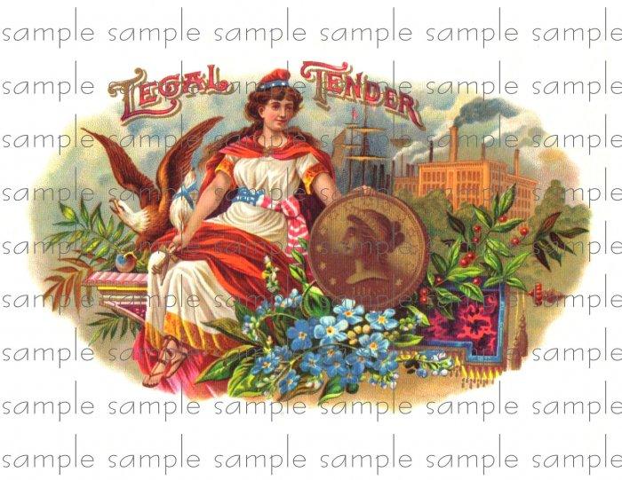 Legal Tender Vintage Digital Cigar Box Art Ephemera Scrapbooking Altered Art Decoupage