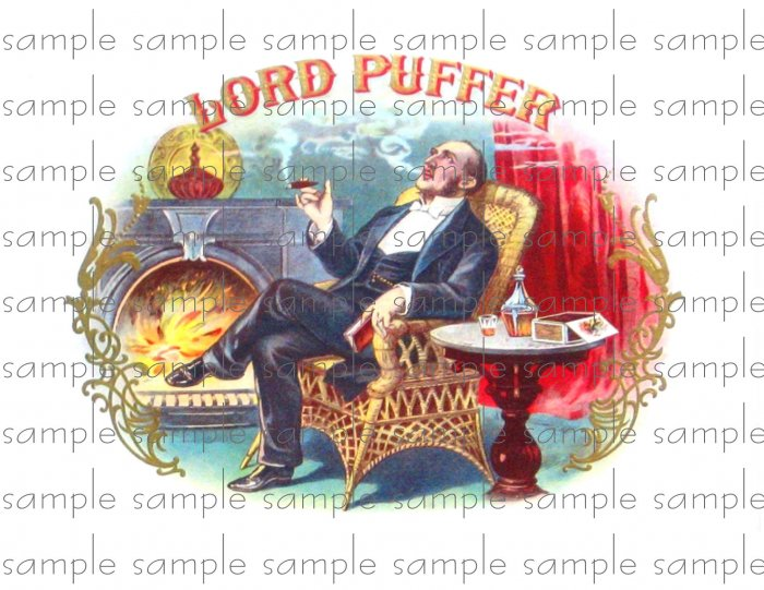 Lord Puffer Vintage Digital Cigar Box Art Ephemera Scrapbooking Altered Art Decoupage