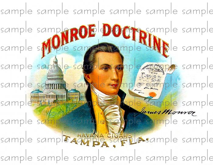 Monroe Doctrine Vintage Digital Cigar Box Art Ephemera Scrapbooking Altered Art Decoupage