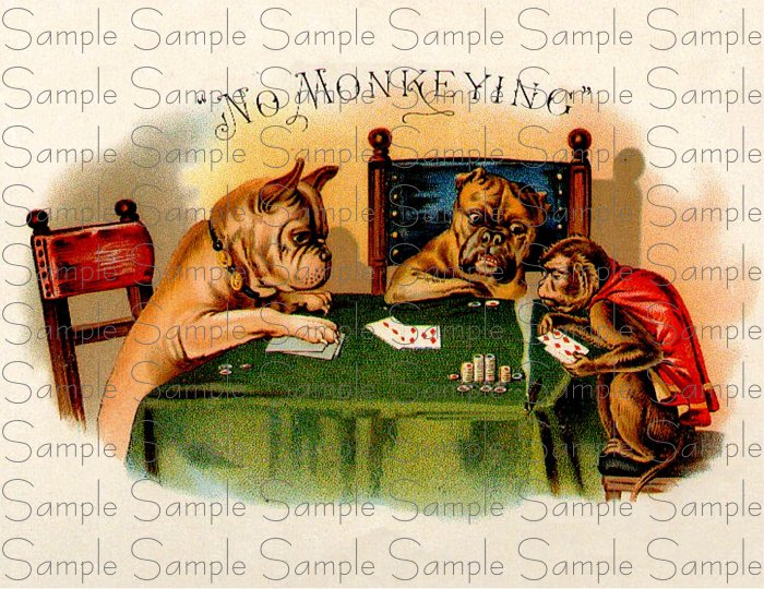 No Monkeying Vintage Digital Cigar Box Art Ephemera Scrapbooking Altered Art Decoupage