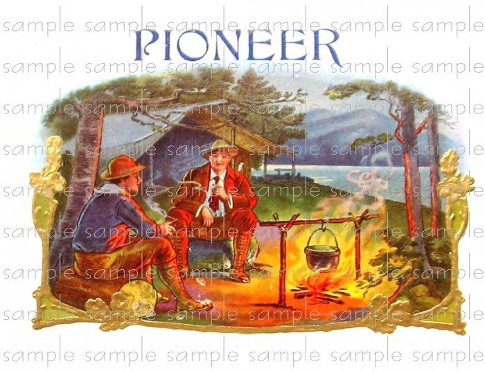 Pioneer Vintage Digital Cigar Box Art Ephemera Scrapbooking Altered Art Decoupage