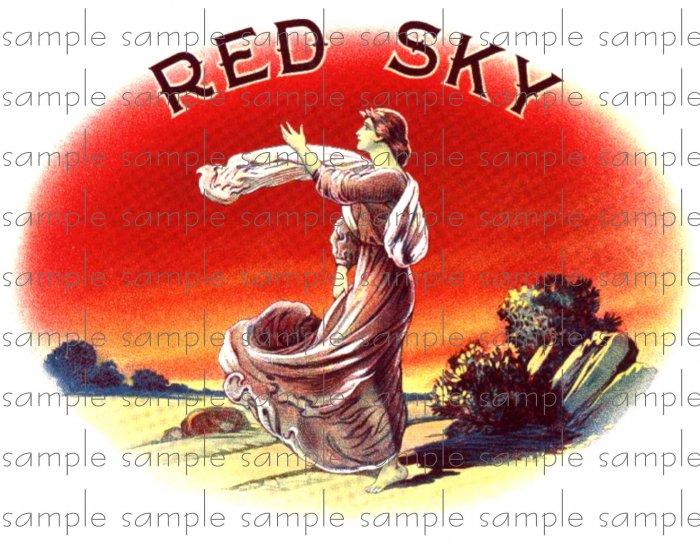 Red Sky Vintage Digital Cigar Box Art Ephemera Scrapbooking Altered Art Decoupage