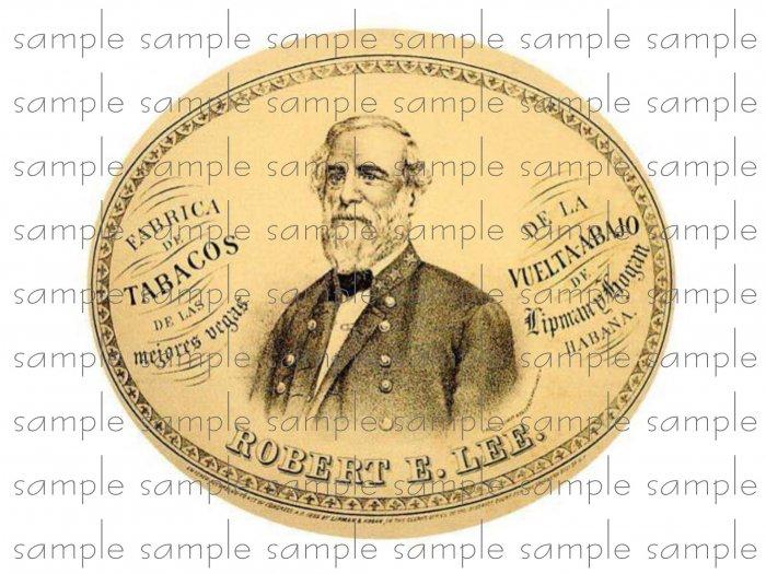 Robert E Lee Vintage Digital Cigar Box Art Ephemera Scrapbooking Altered Art Decoupage
