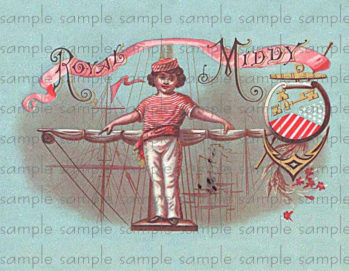 Royal Middy Vintage Digital Cigar Box Art Ephemera Scrapbooking Altered Art Decoupage