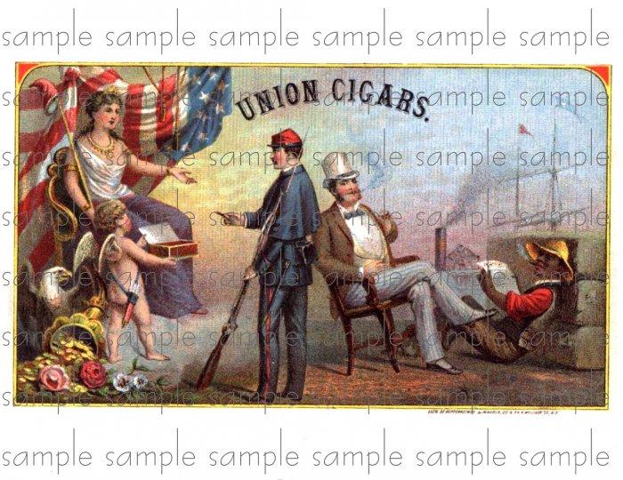 Union Cigars Vintage Digital Cigar Box Art Ephemera Scrapbooking Altered Art Decoupage