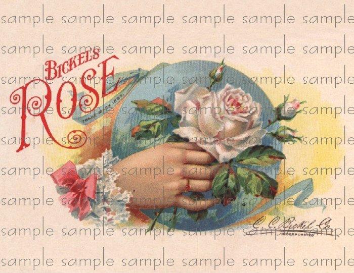Brickles Rose Digital Cigar Box Art Ephemera Scrapbooking Altered Art Decoupage