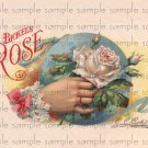 Brickles Rose Digital Cigar Box Art Ephemera Scrapbooking Altered Art Decoupage