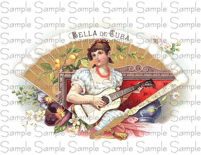 Bella De Cuba Digital Cigar Box Art Ephemera Scrapbooking Altered Art Decoupage