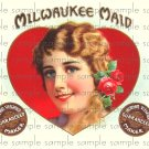 Milwalkie Maid Digital Cigar Box Art Ephemera Scrapbooking Altered Art Decoupage