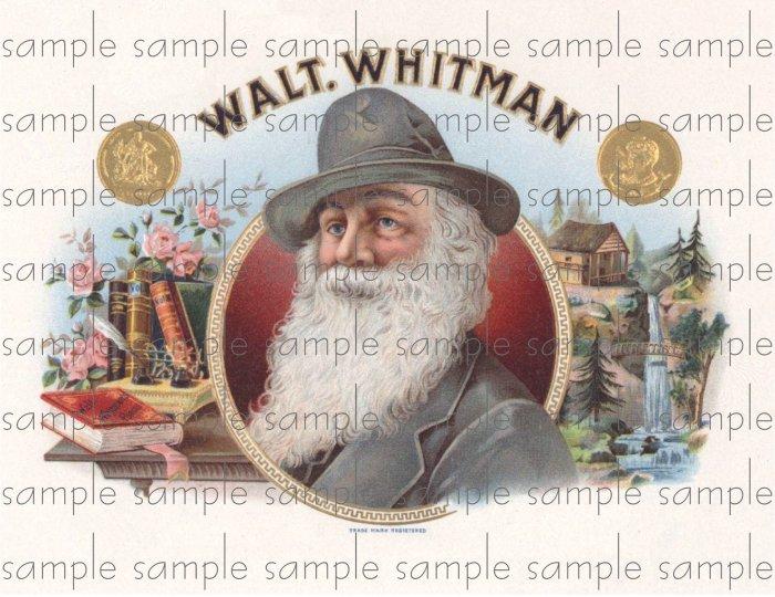 Walt Whitman Digital Cigar Box Art Ephemera Scrapbooking Altered Art Decoupage