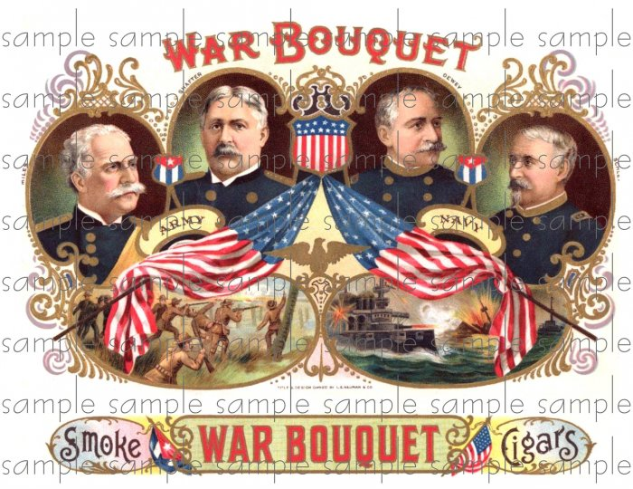 War Bouquet Digital Cigar Box Art Ephemera Scrapbooking Altered Art Decoupage