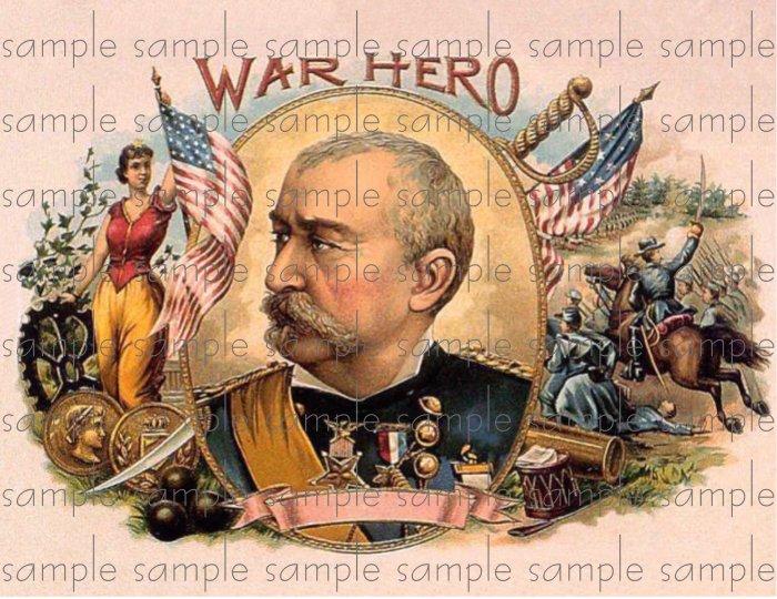 War Hero Digital Cigar Box Art Ephemera Scrapbooking Altered Art Decoupage