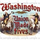 Washington Union Made Fives Cigar Box Art Ephemera Scrapbooking Altered Art Decoupage
