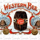 Western Bee Cigar Box Art Ephemera Scrapbooking Altered Art Decoupage