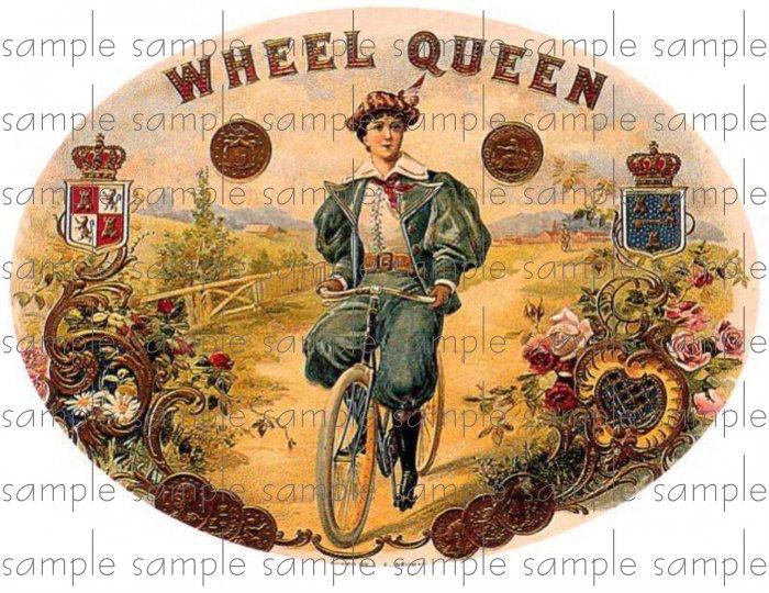 Wheel Queen Cigar Box Art Ephemera Scrapbooking Altered Art Decoupage