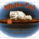 White Cat Cigar Box Art Ephemera Scrapbooking Altered Art Decoupage