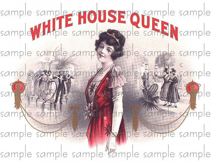 White House Queen Cigar Box Art Ephemera Scrapbooking Altered Art Decoupage