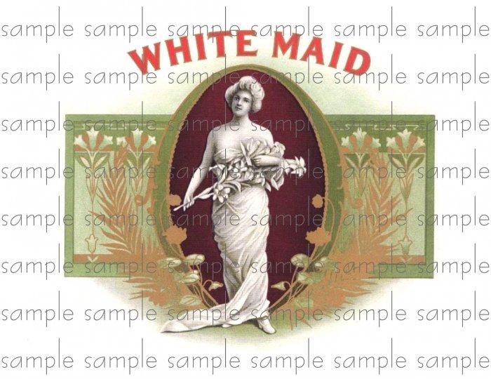 White Maid Cigar Box Art Ephemera Scrapbooking Altered Art Decoupage