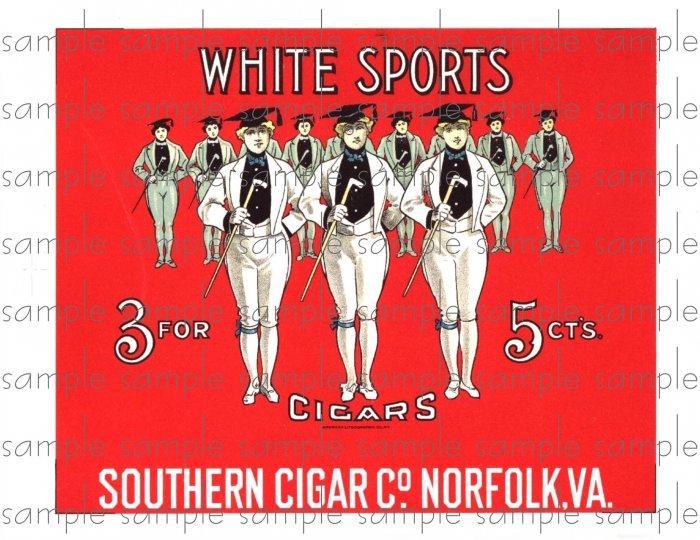 White Sports Cigar Box Art Ephemera Scrapbooking Altered Art Decoupage