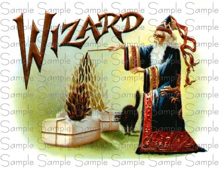 WIZARD Cigar Box Art Ephemera Scrapbooking Altered Art Decoupage