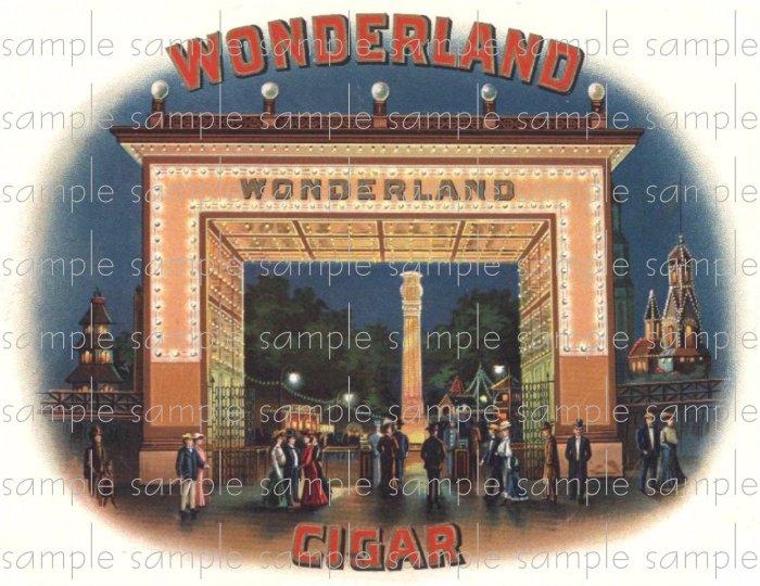 Wonderland Cigar Box Art Ephemera Scrapbooking Altered Art Decoupage