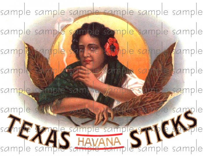 Texas Havana Sticks Cigar Box Art Ephemera Scrapbooking Altered Art Decoupage
