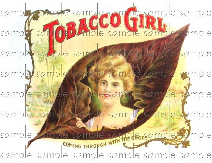 Tobacco girl Cigar Box Art Ephemera Scrapbooking Altered Art Decoupage