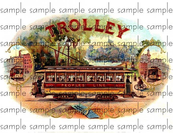Trolley Cigar Box Art Ephemera Scrapbooking Altered Art Decoupage