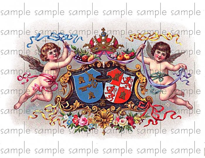 Two Cherubs Cigar Box Art Ephemera Scrapbooking Altered Art Decoupage