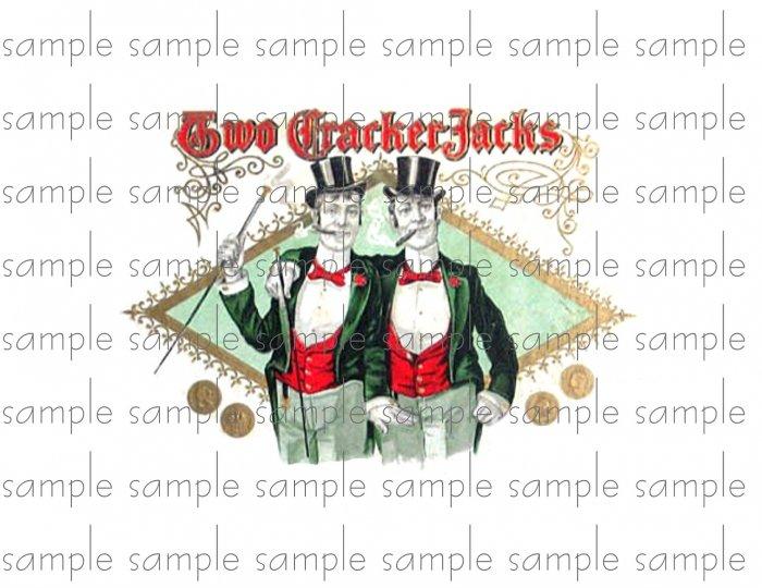 Two Crackerjacks Cigar Box Art Ephemera Scrapbooking Altered Art Decoupage