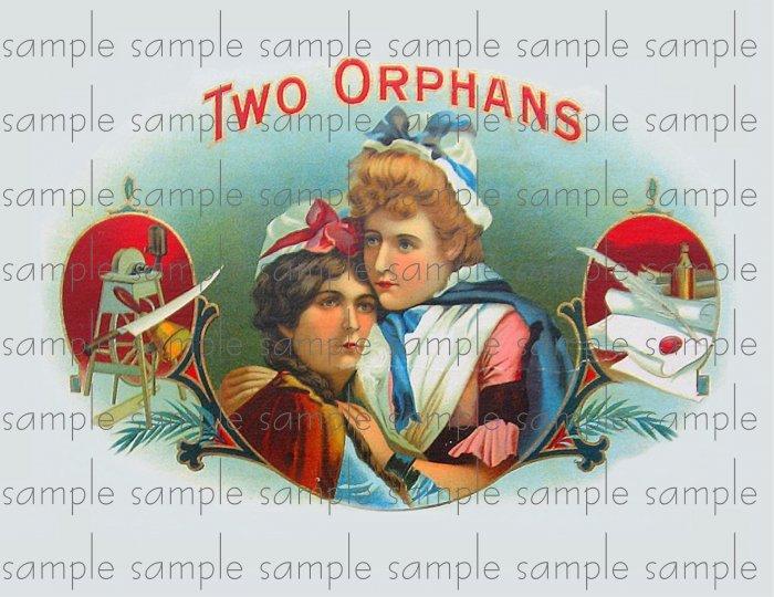 Two Orphans Cigar Box Art Ephemera Scrapbooking Altered Art Decoupage