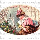 Snow Flakes Vintage Digital Cigar Box Art Ephemera Scrapbooking Altered Art Decoupage