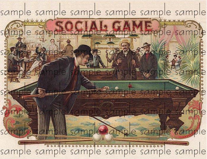 Social Game Vintage Digital Cigar Box Art Ephemera Scrapbooking Altered Art Decoupage