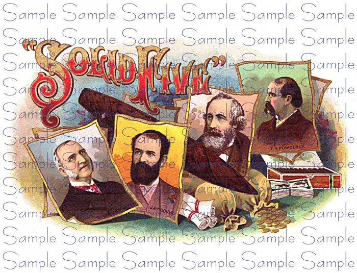 Solid Five Vintage Digital Cigar Box Art Ephemera Scrapbooking Altered Art Decoupage