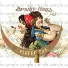 Sporty Girls Vintage Digital Cigar Box Art Ephemera Scrapbooking Altered Art Decoupage