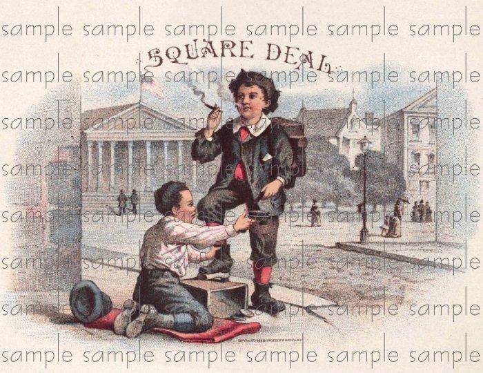 Square Deal Vintage Digital Cigar Box Art Ephemera Scrapbooking Altered Art Decoupage