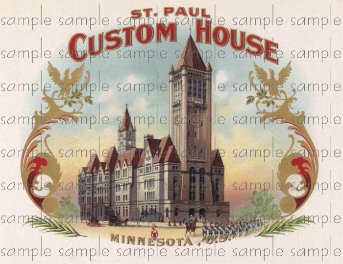 St Paul Custom House Vintage Digital Cigar Box Art Ephemera Scrapbooking Altered Art Decoupage