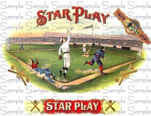 Star Play Vintage Digital Cigar Box Art Ephemera Scrapbooking Altered Art Decoupage