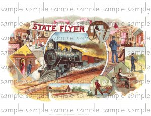 State Flyer Vintage Digital Cigar Box Art Ephemera Scrapbooking Altered Art Decoupage