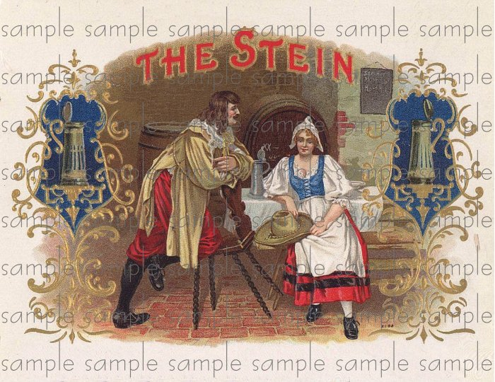 Stein Vintage Digital Cigar Box Art Ephemera Scrapbooking Altered Art Decoupage