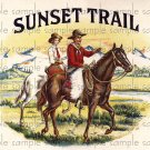 Sunset Trail Vintage Digital Cigar Box Art Ephemera Scrapbooking Altered Art Decoupage