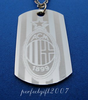 Stainless Steel AC Milan FC Dog Tag Necklace Pendant