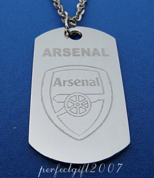 Stainless Steel Arsenal Dog Tag Necklace Pendant